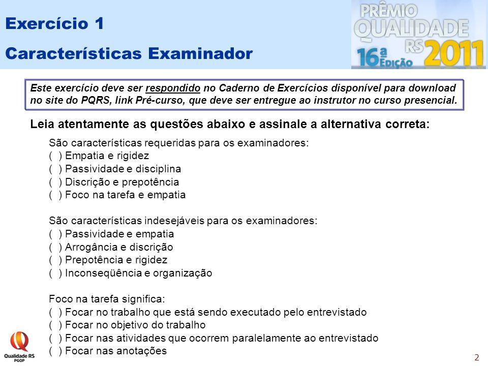 Características Examinador