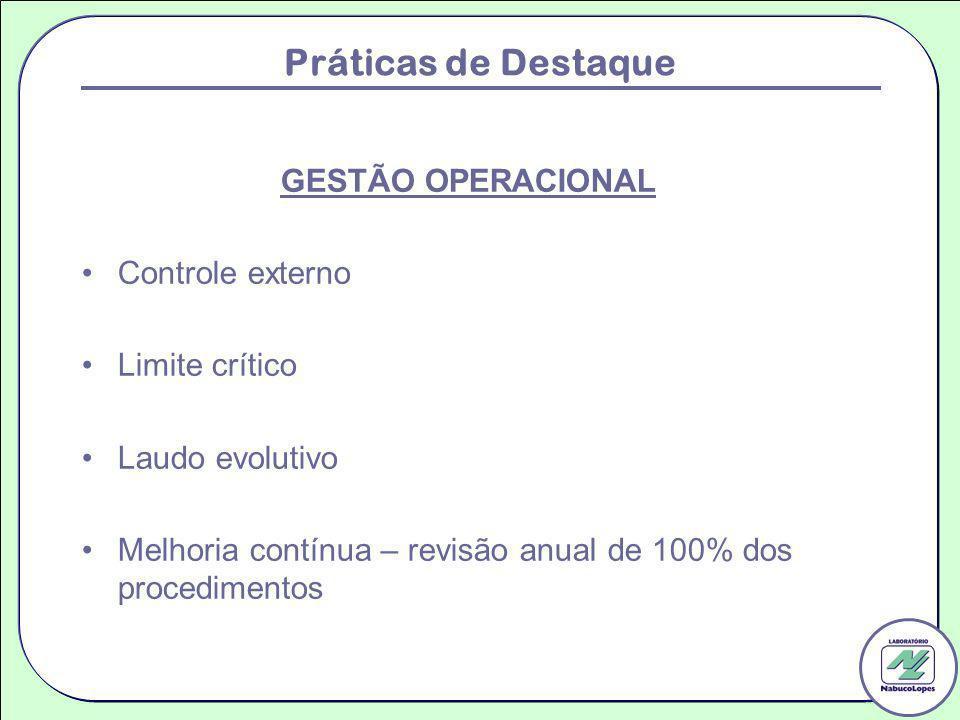 Práticas de Destaque GESTÃO OPERACIONAL Controle externo