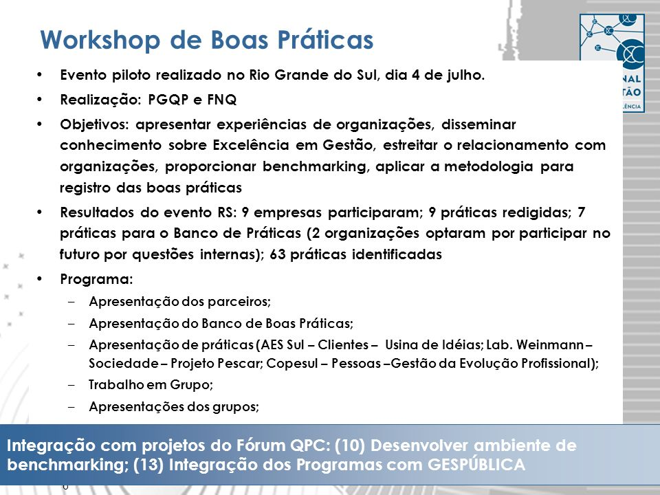 Workshop de Boas Práticas