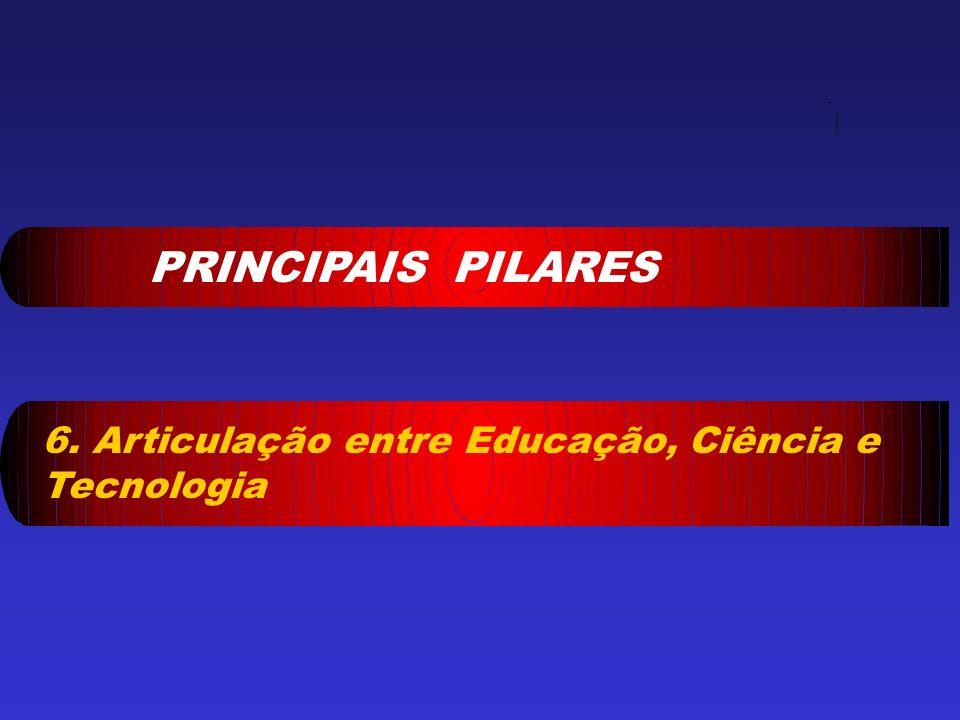 PRINCIPAIS PILARES 6. Articulação entre Educação, Ciência e Tecnologia