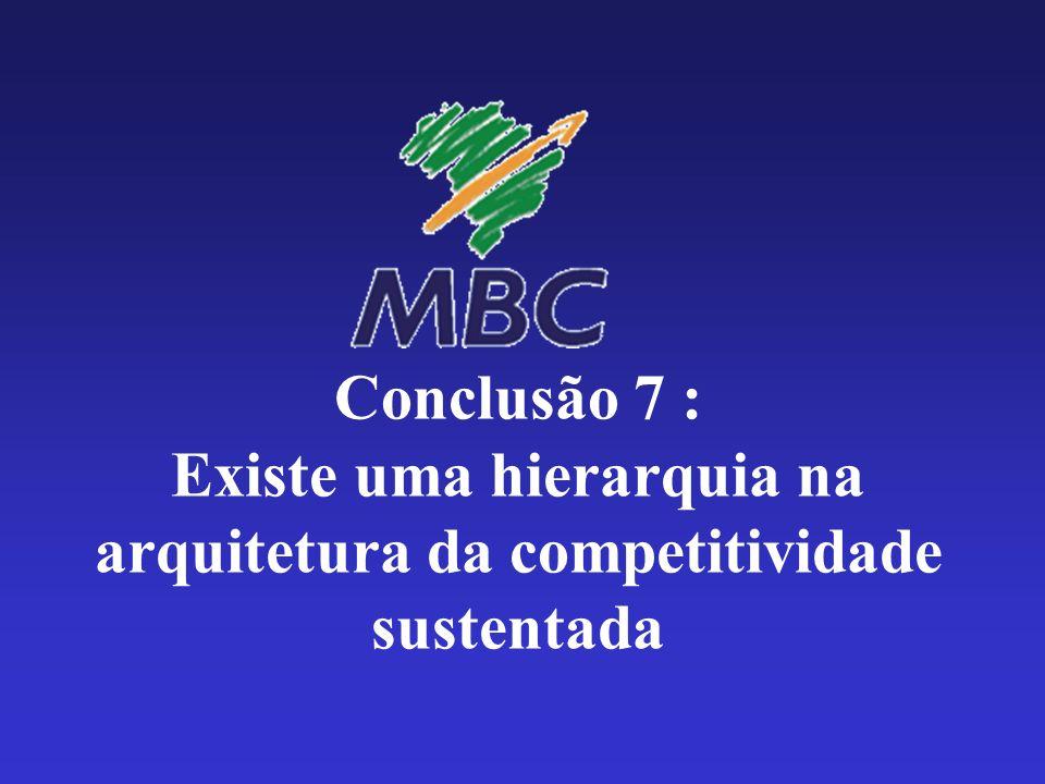 Conclusão 7 : Existe uma hierarquia na arquitetura da competitividade sustentada