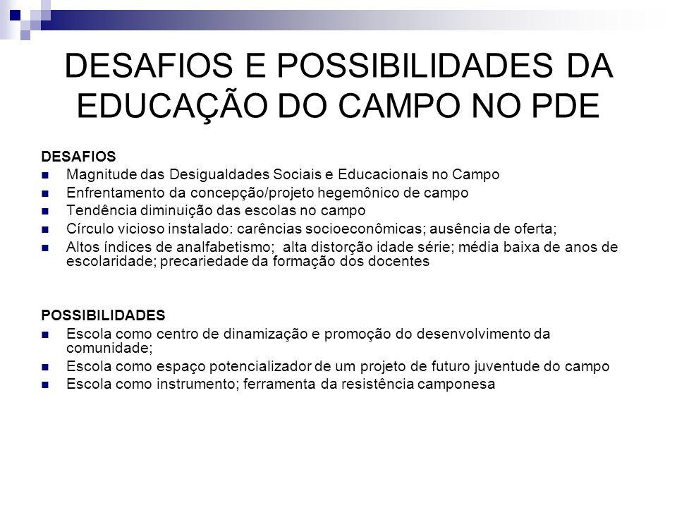 DESAFIOS E POSSIBILIDADES DA EDUCAÇÃO DO CAMPO NO PDE