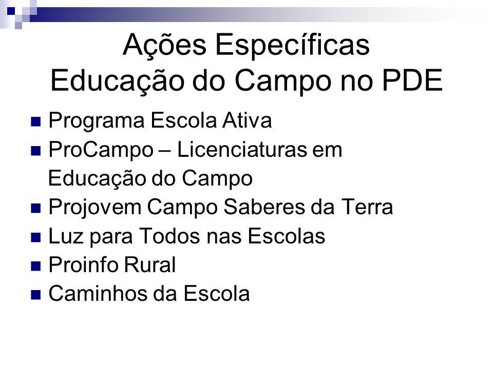 Ações Específicas Educação do Campo no PDE