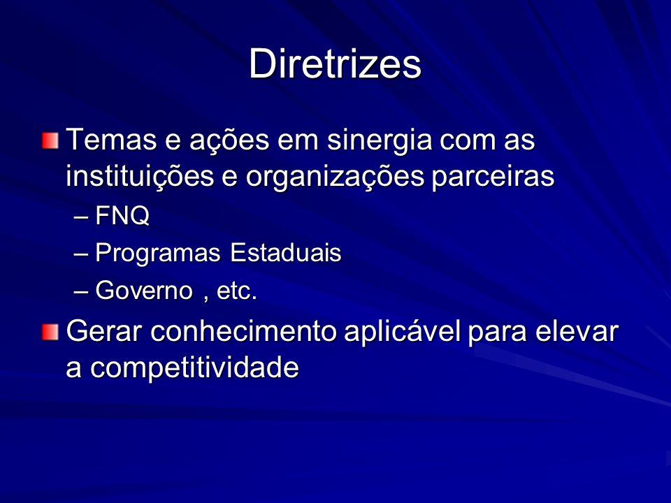 Diretrizes Temas e ações em sinergia com as instituições e organizações parceiras. FNQ. Programas Estaduais.