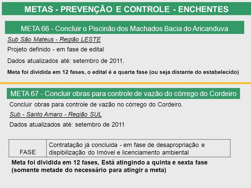 METAS - PREVENÇÃO E CONTROLE - ENCHENTES