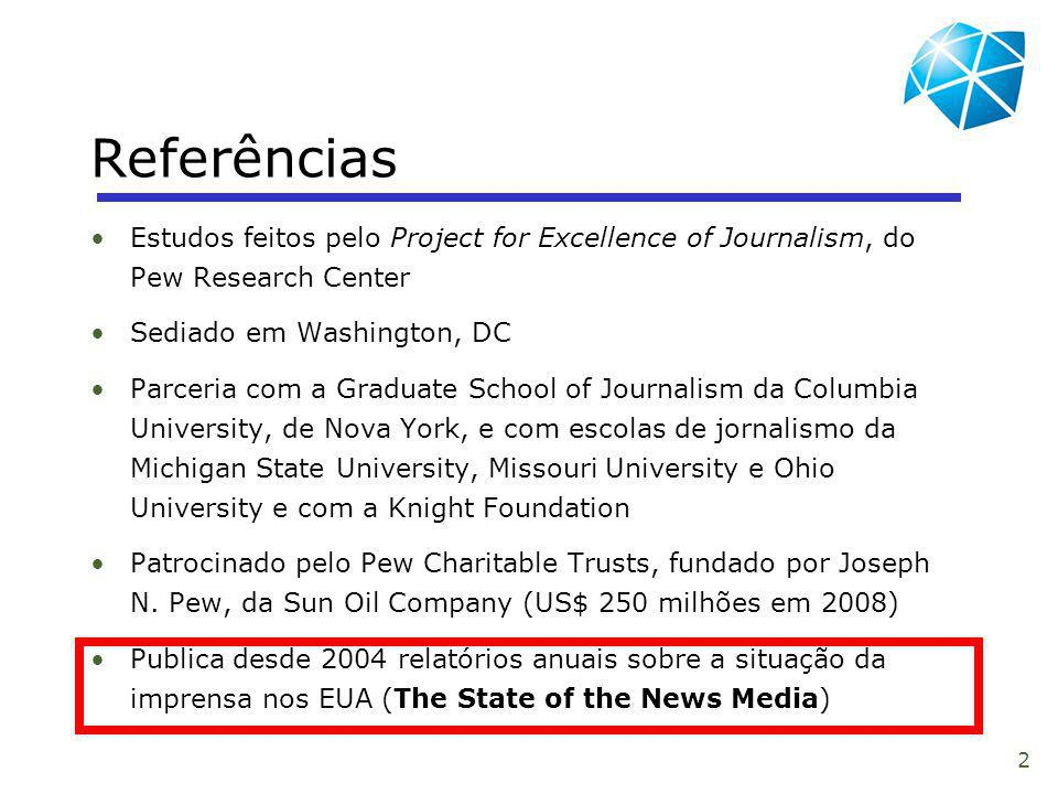 Referências Estudos feitos pelo Project for Excellence of Journalism, do Pew Research Center. Sediado em Washington, DC.