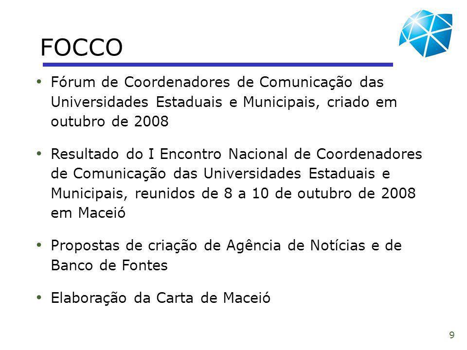 FOCCO Fórum de Coordenadores de Comunicação das Universidades Estaduais e Municipais, criado em outubro de 2008.