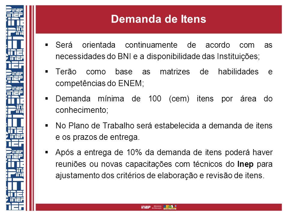 Demanda de Itens Será orientada continuamente de acordo com as necessidades do BNI e a disponibilidade das Instituições;