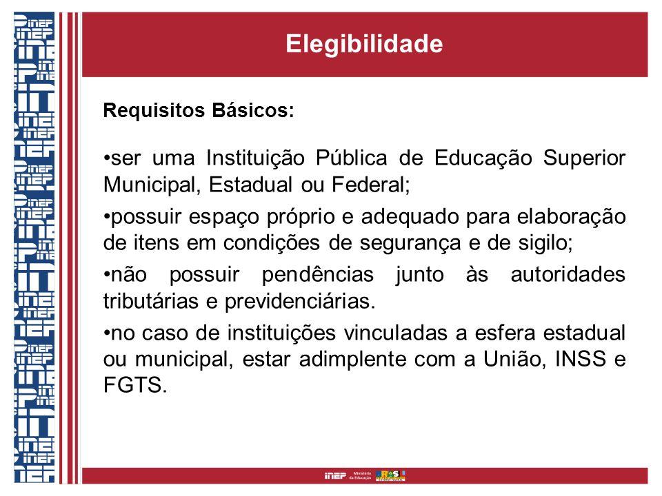 Elegibilidade Requisitos Básicos: ser uma Instituição Pública de Educação Superior Municipal, Estadual ou Federal;