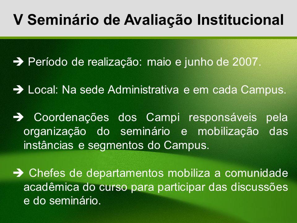 V Seminário de Avaliação Institucional