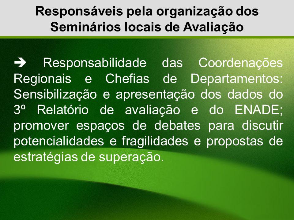 Responsáveis pela organização dos Seminários locais de Avaliação