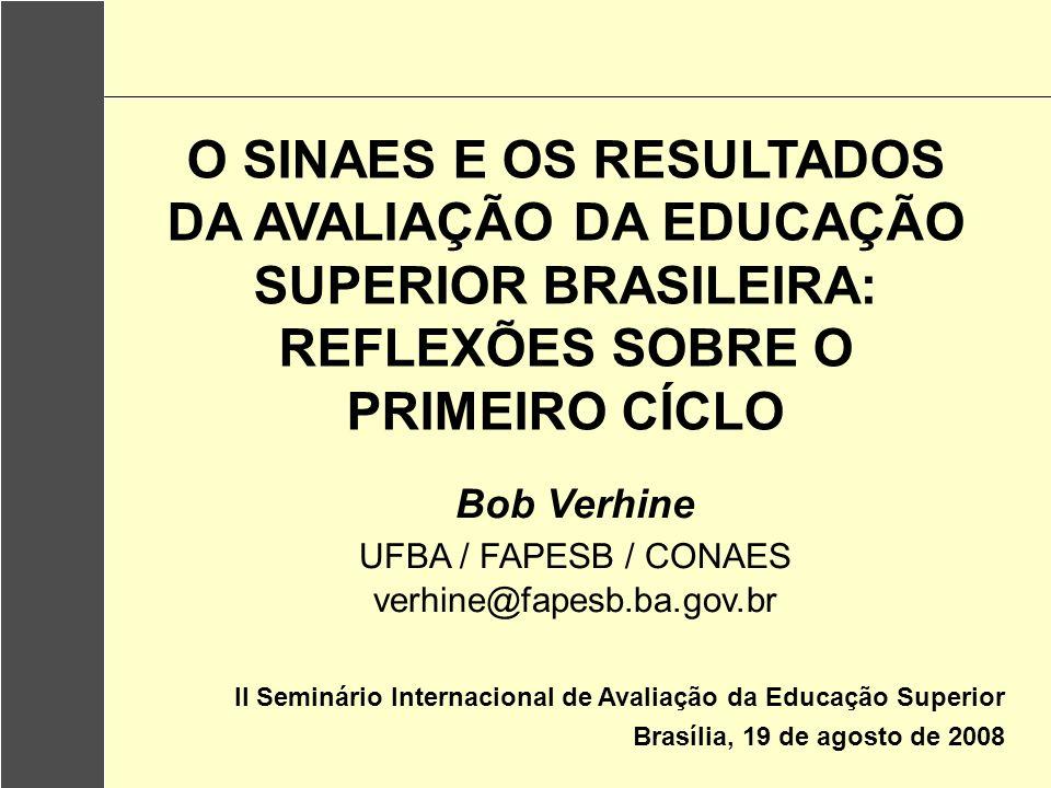 O SINAES E OS RESULTADOS DA AVALIAÇÃO DA EDUCAÇÃO SUPERIOR BRASILEIRA: REFLEXÕES SOBRE O PRIMEIRO CÍCLO
