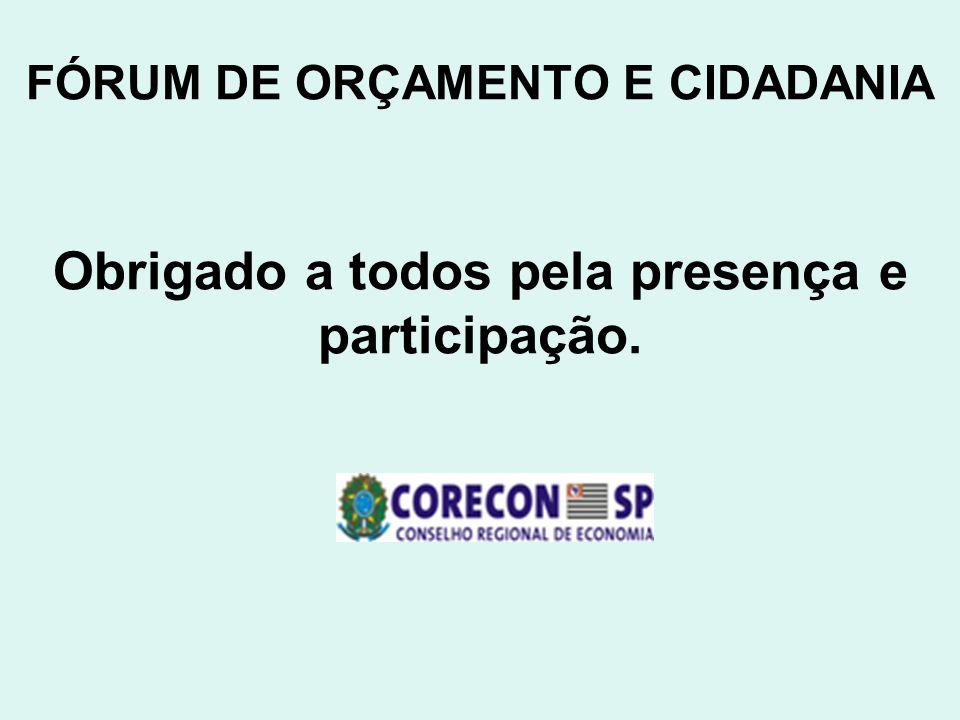 FÓRUM DE ORÇAMENTO E CIDADANIA Obrigado a todos pela presença e participação.