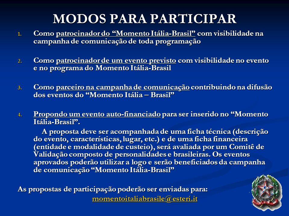 MODOS PARA PARTICIPARComo patrocinador do Momento Itália-Brasil com visibilidade na campanha de comunicação de toda programação.