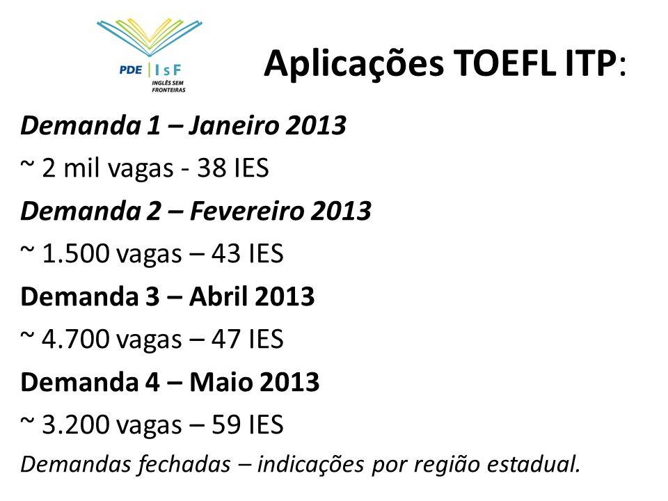 Aplicações TOEFL ITP: Demanda 1 – Janeiro 2013 ~ 2 mil vagas - 38 IES