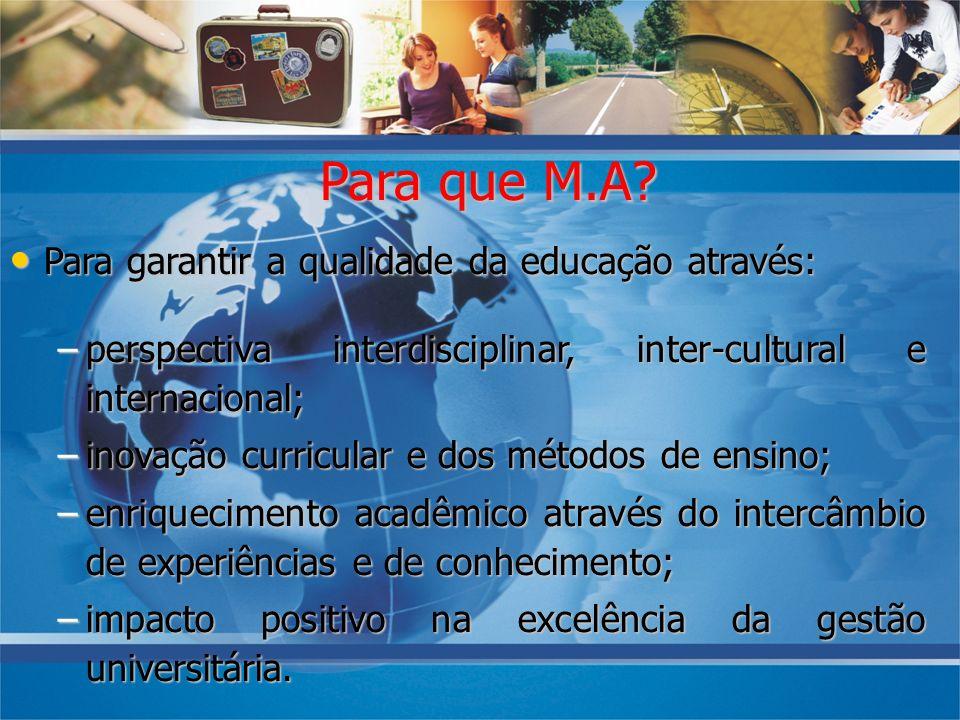 Para que M.A Para garantir a qualidade da educação através: