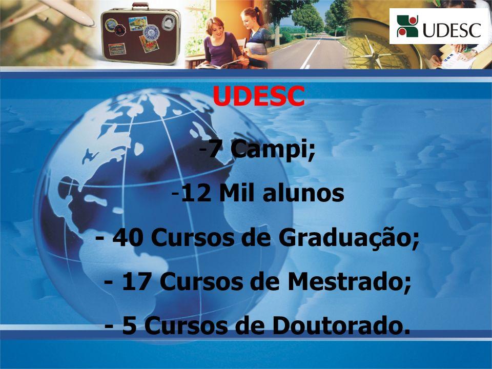UDESC 7 Campi; 12 Mil alunos - 40 Cursos de Graduação;