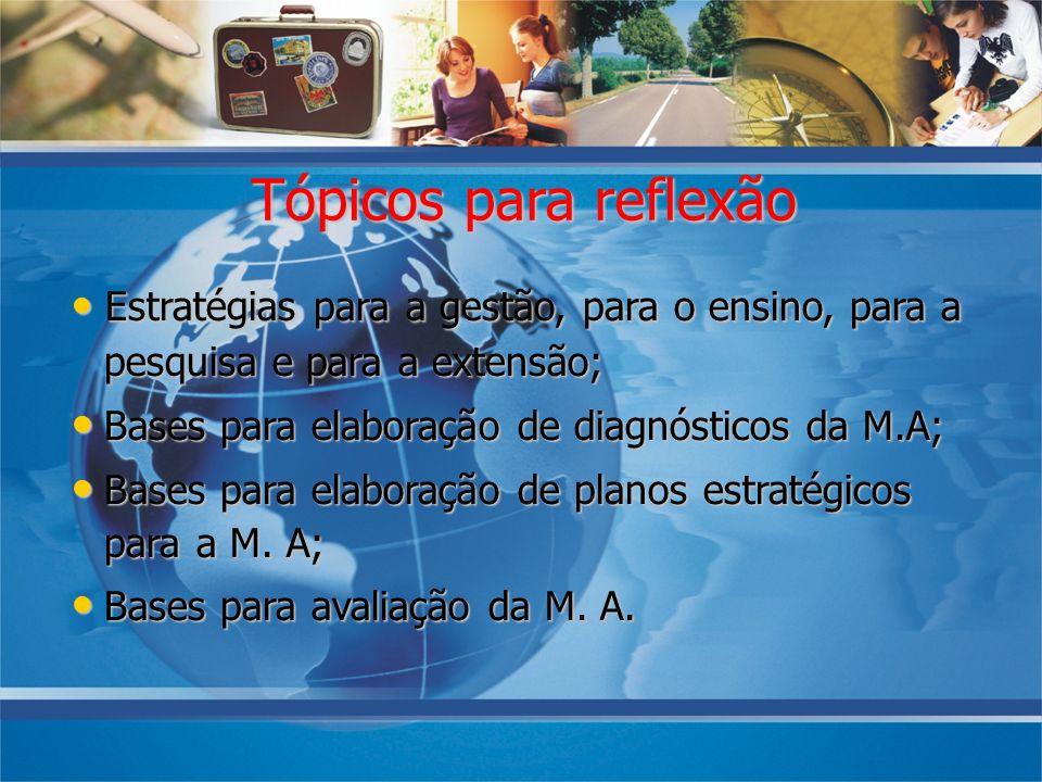 08/10/07 Tópicos para reflexão. • Estratégias para a gestão, para o ensino, para a pesquisa e para a extensão;