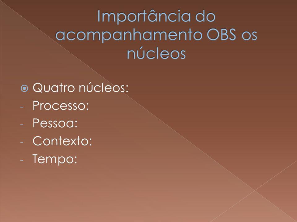 Importância do acompanhamento OBS os núcleos