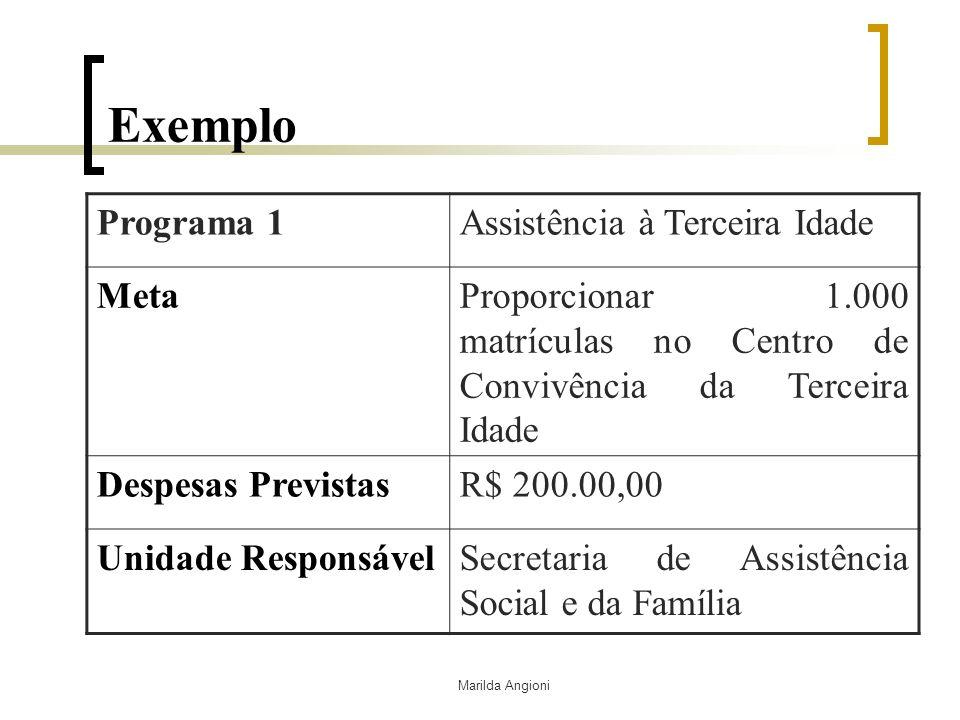 Exemplo Programa 1 Assistência à Terceira Idade Meta