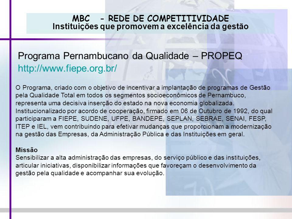 Programa Pernambucano da Qualidade – PROPEQ http://www.fiepe.org.br/