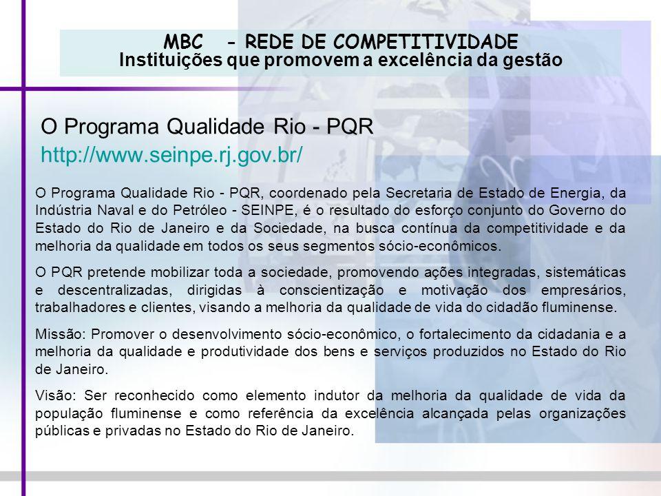 O Programa Qualidade Rio - PQR http://www.seinpe.rj.gov.br/