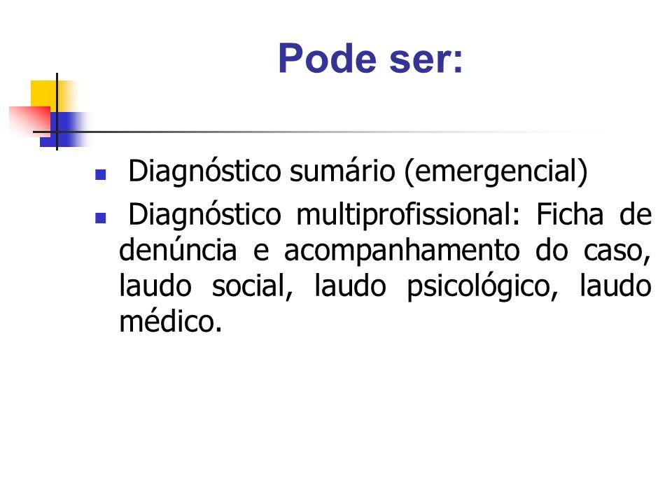 Pode ser: Diagnóstico sumário (emergencial)