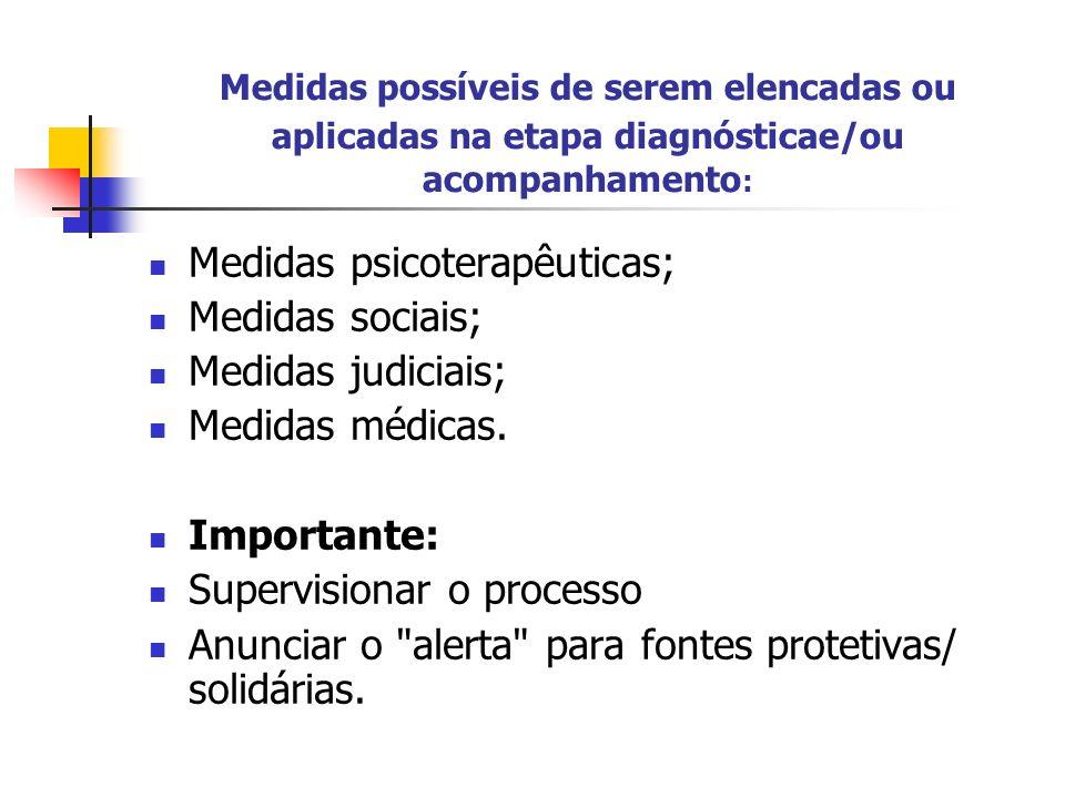 Medidas psicoterapêuticas; Medidas sociais; Medidas judiciais;