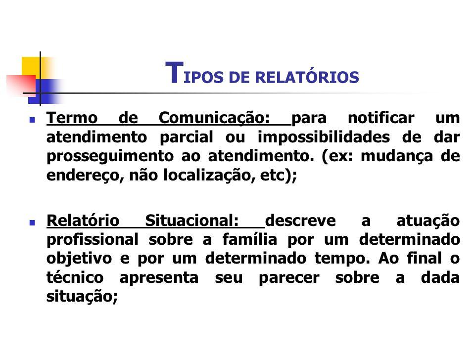 TIPOS DE RELATÓRIOS