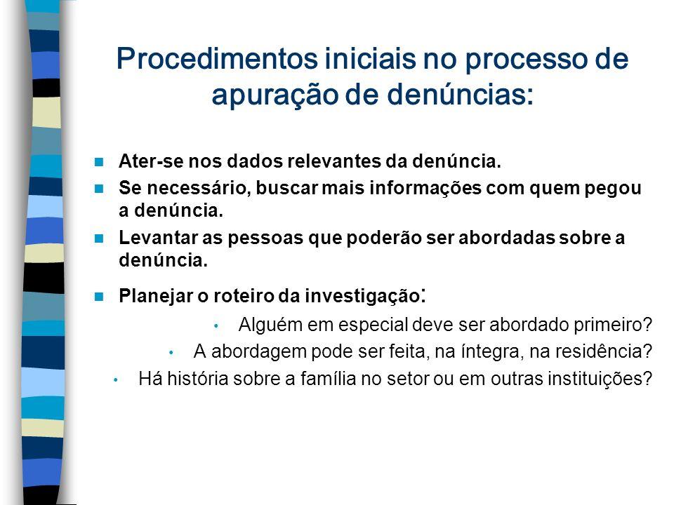 Procedimentos iniciais no processo de apuração de denúncias:
