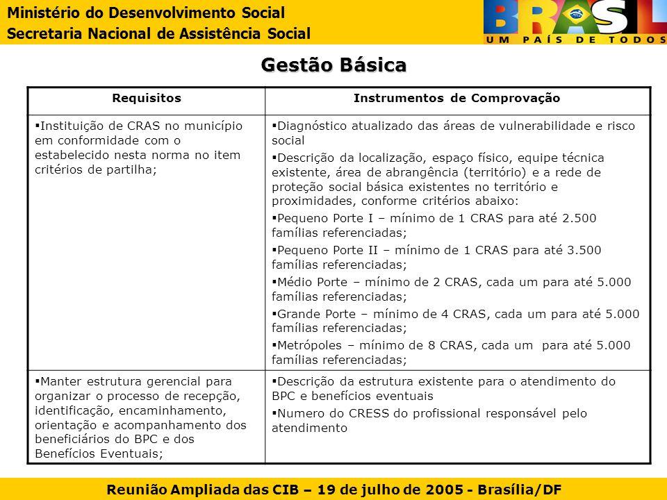 Gestão Básica Ministério do Desenvolvimento Social
