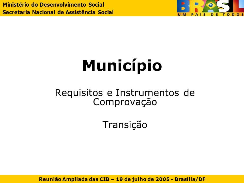 Requisitos e Instrumentos de Comprovação Transição