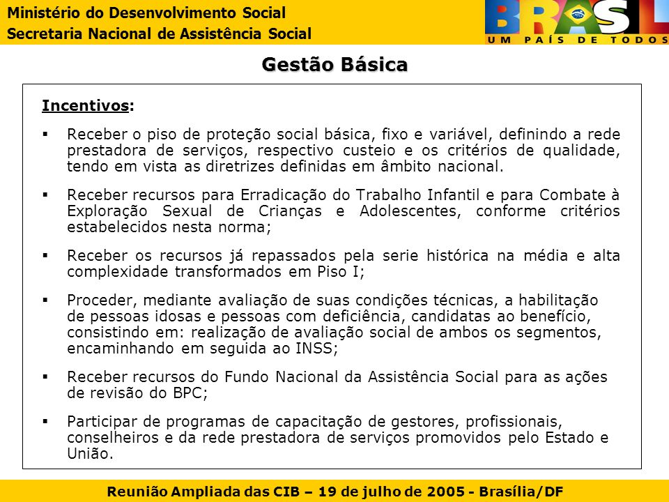 Reunião Ampliada das CIB – 19 de julho de 2005 - Brasília/DF