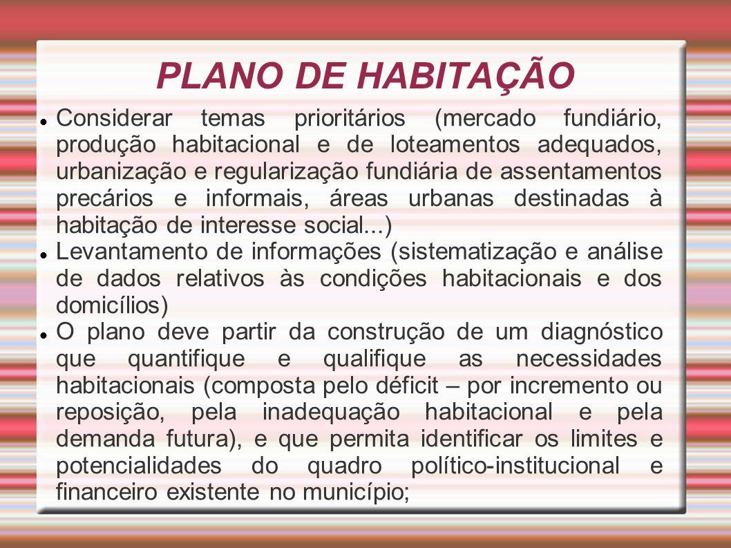 PLANO DE HABITAÇÃO