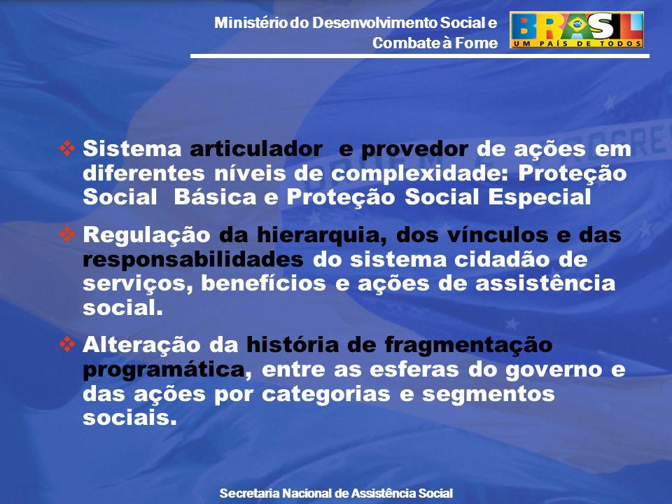 Sistema articulador e provedor de ações em diferentes níveis de complexidade: Proteção Social Básica e Proteção Social Especial