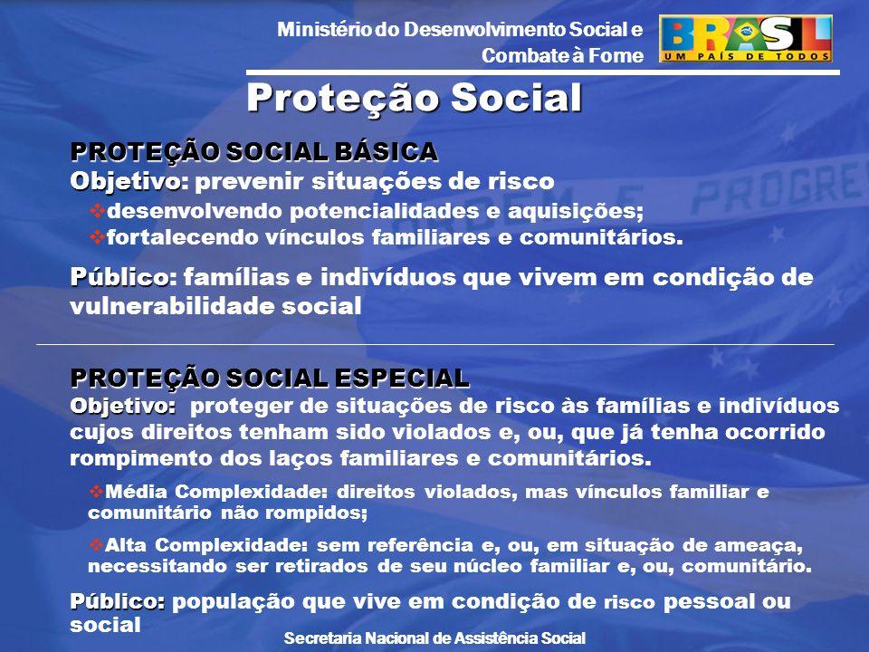 Proteção Social PROTEÇÃO SOCIAL BÁSICA Objetivo: prevenir situações de risco. desenvolvendo potencialidades e aquisições;