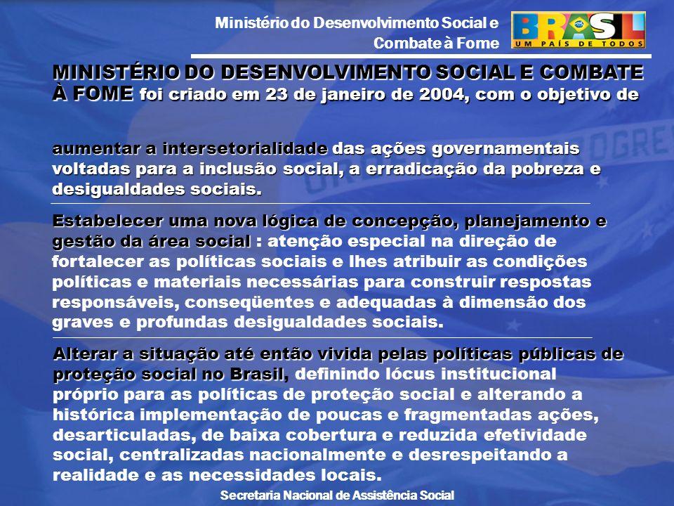 MINISTÉRIO DO DESENVOLVIMENTO SOCIAL E COMBATE À FOME foi criado em 23 de janeiro de 2004, com o objetivo de