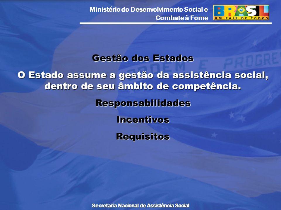 Gestão dos Estados O Estado assume a gestão da assistência social, dentro de seu âmbito de competência.