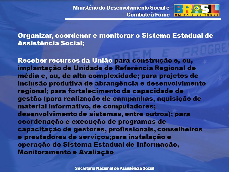 Organizar, coordenar e monitorar o Sistema Estadual de Assistência Social;
