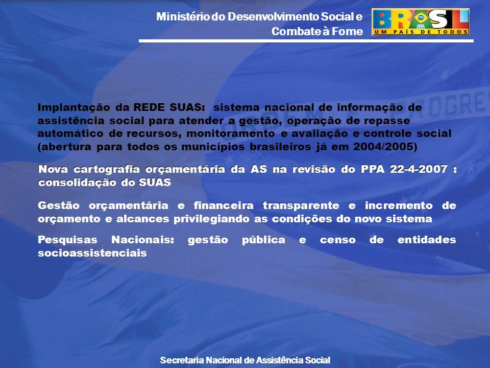 Implantação da REDE SUAS: sistema nacional de informação de assistência social para atender a gestão, operação de repasse automático de recursos, monitoramento e avaliação e controle social (abertura para todos os municípios brasileiros já em 2004/2005)