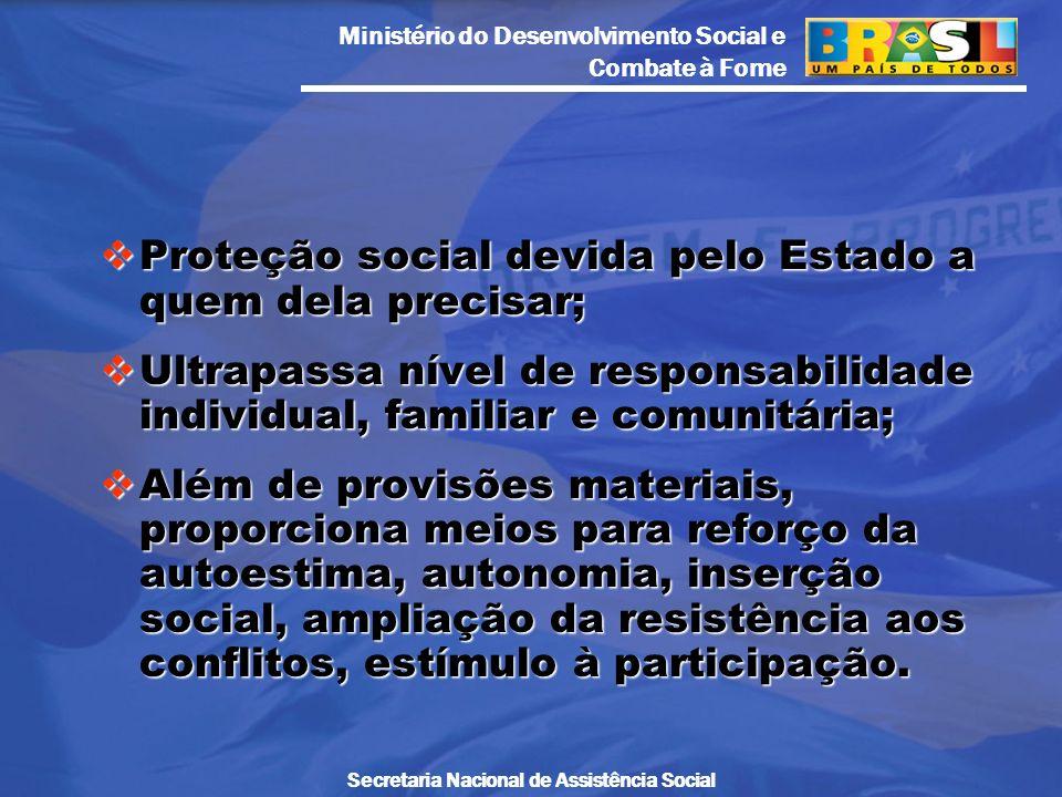 Proteção social devida pelo Estado a quem dela precisar;