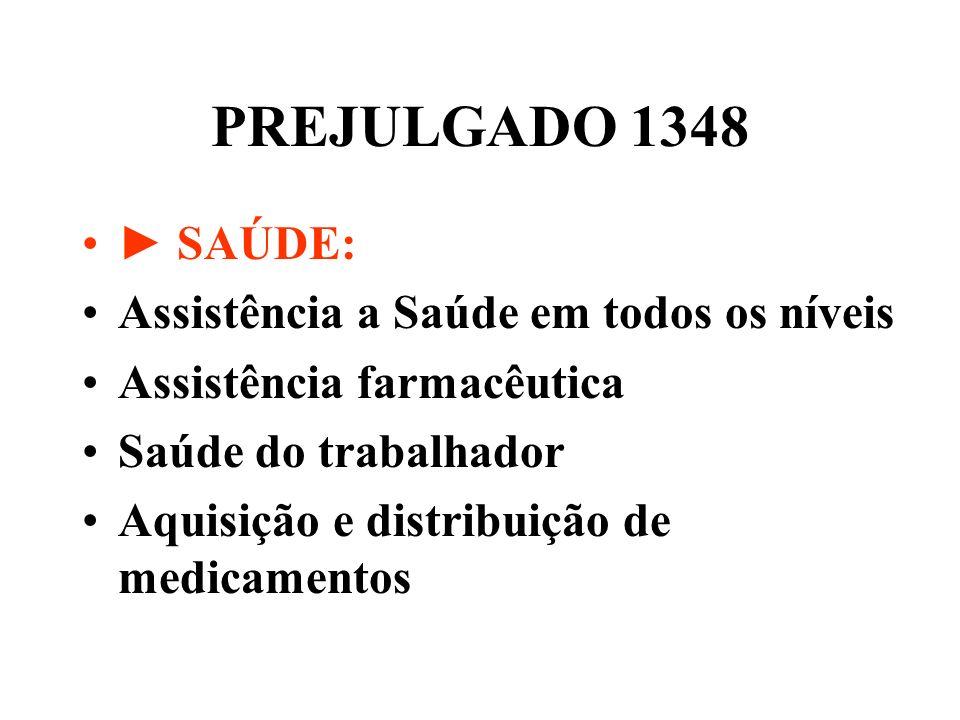 PREJULGADO 1348 ► SAÚDE: Assistência a Saúde em todos os níveis