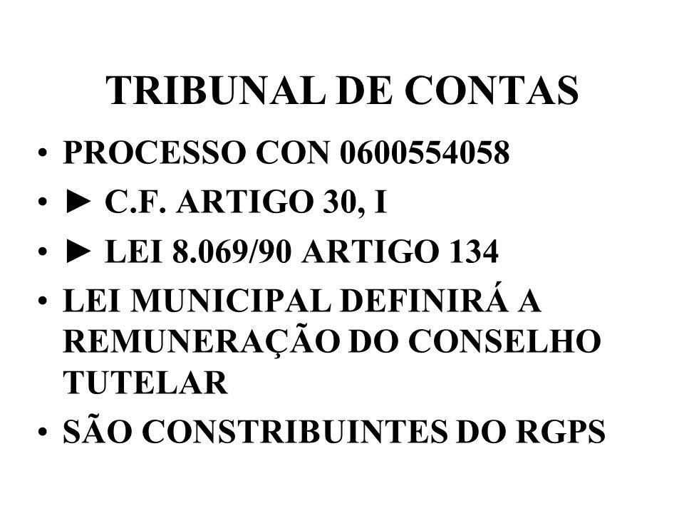 TRIBUNAL DE CONTAS PROCESSO CON 0600554058 ► C.F. ARTIGO 30, I