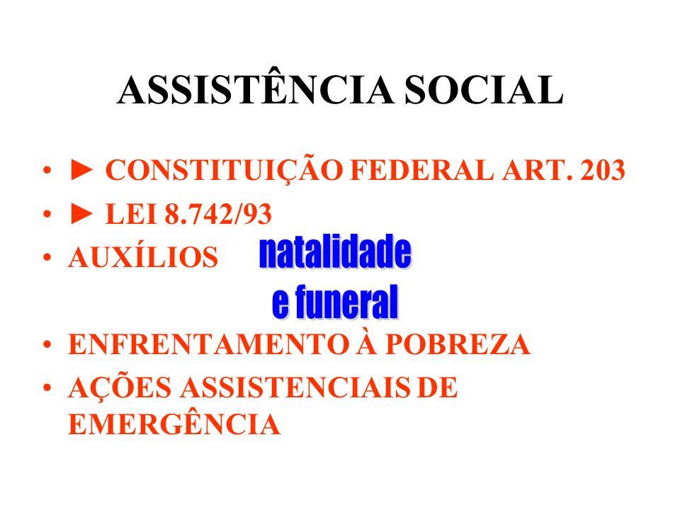 ASSISTÊNCIA SOCIAL natalidade e funeral