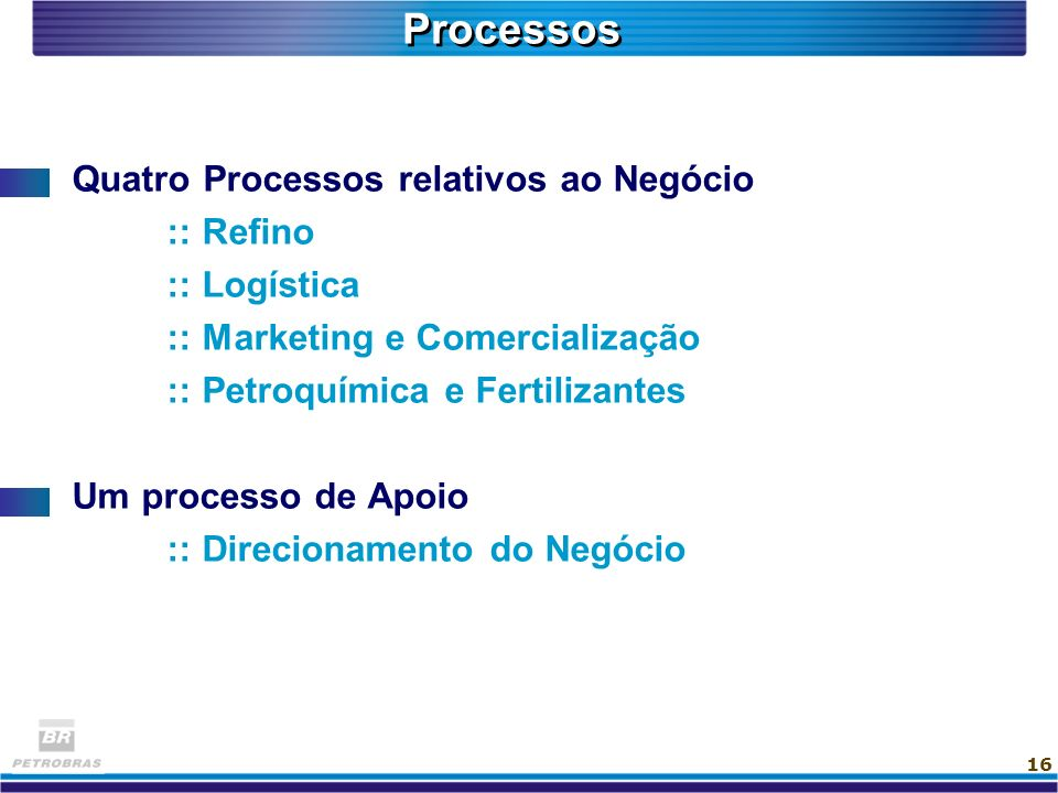 Processos Quatro Processos relativos ao Negócio :: Refino :: Logística