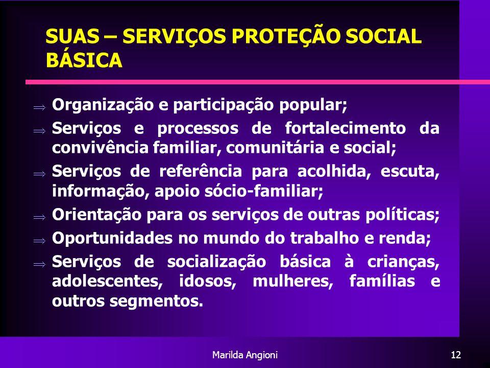 SUAS – SERVIÇOS PROTEÇÃO SOCIAL BÁSICA
