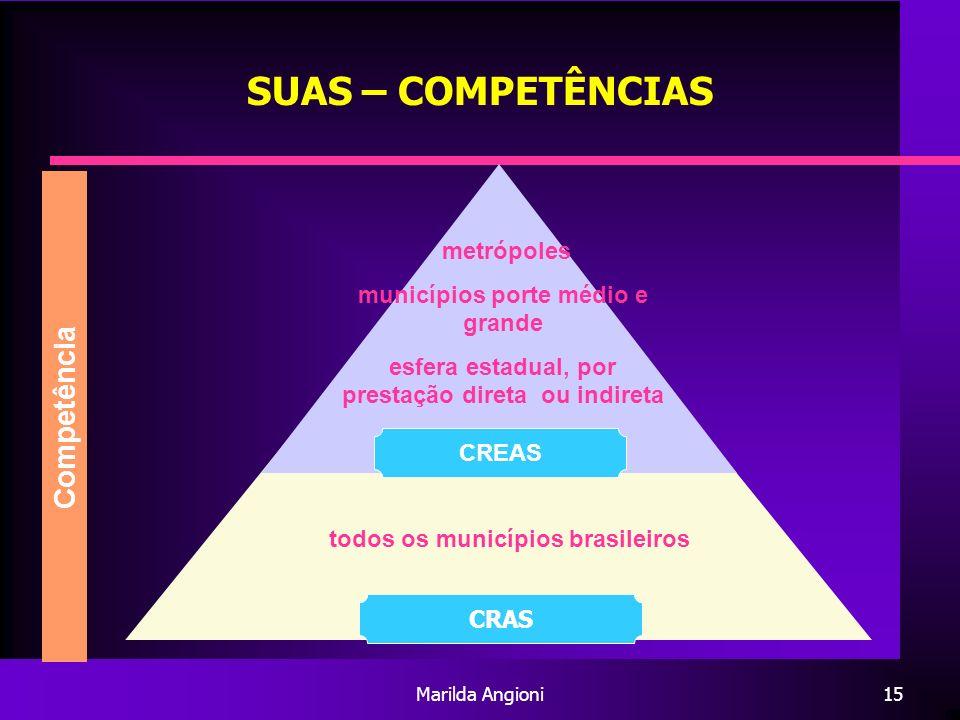 SUAS – COMPETÊNCIAS Competência metrópoles