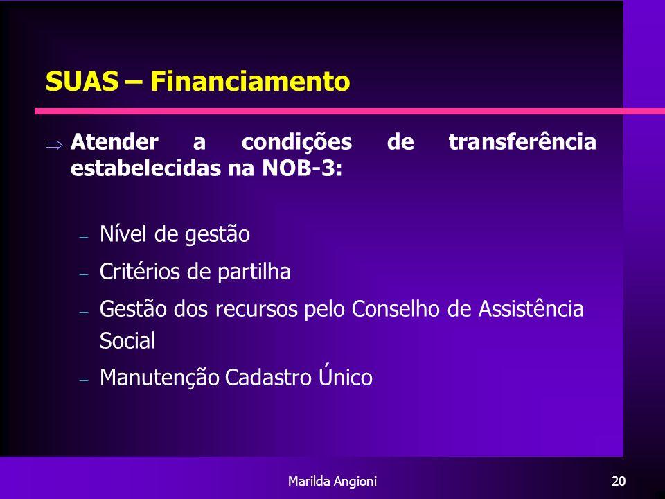 SUAS – Financiamento Atender a condições de transferência estabelecidas na NOB-3: Nível de gestão.