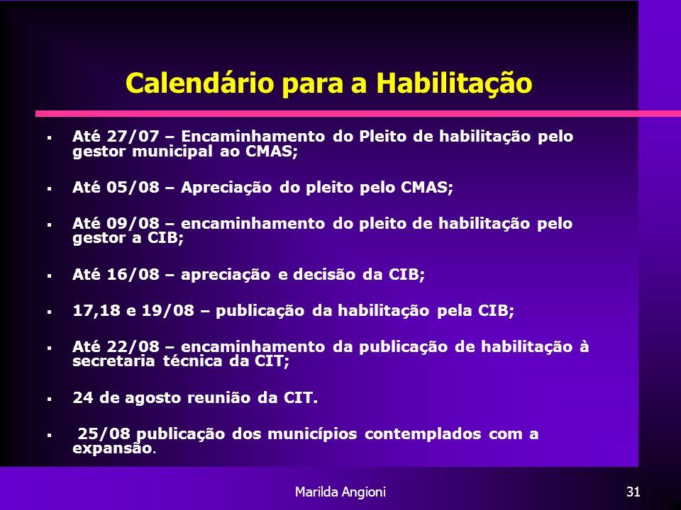 Calendário para a Habilitação