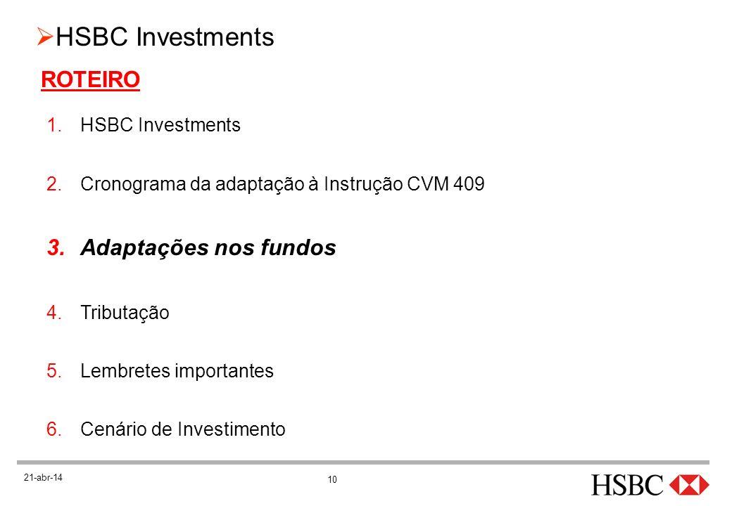ROTEIRO Adaptações nos fundos HSBC Investments